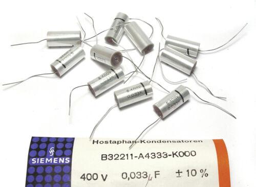 Klangfilm f NOS 0.033 MFD // 400V 10x Siemens B32211 Hostaphan Kondensatoren