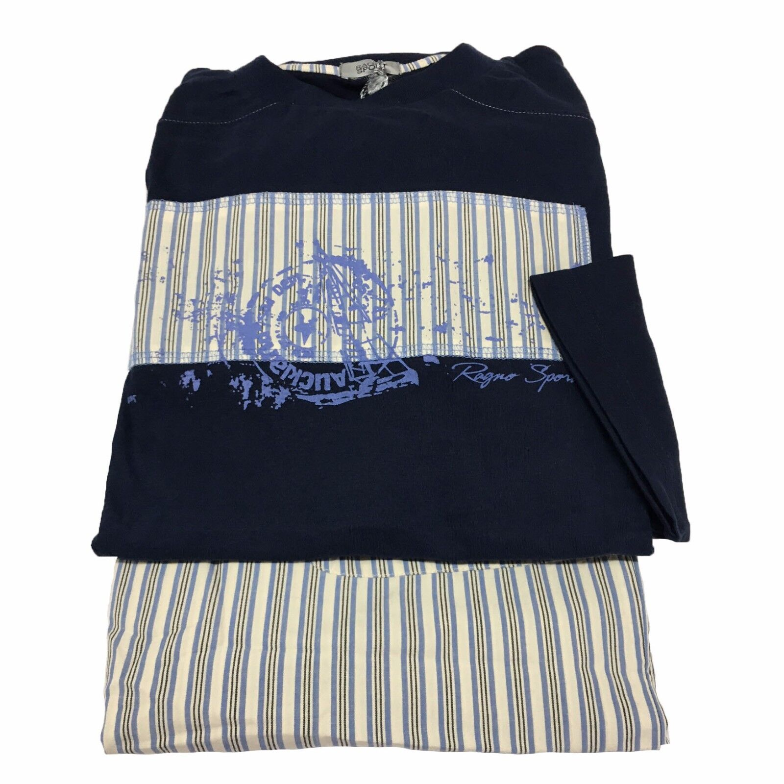 RAGNO SPORT man pajamas long sleeve bluee striped 100% cotton