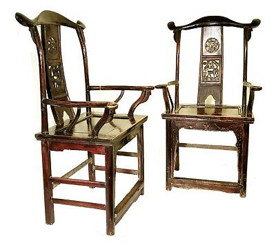 Antique Chinese High Back Arm Chairs