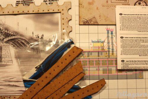 Retro Kreuzstich Packung Stickset Stickbild mit Stickgarn und Rahmen 390
