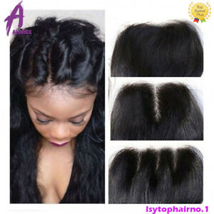 4-4-Lace-Closure-Brazilian-Virgin-Hair-Human-Hair-Extensions-Weave-US-STOCK-Weft