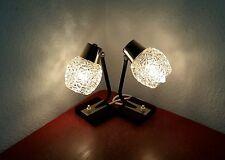 Paar 50er/60er Jahre Nachttischlampe mid century Eisglas Lampe Lamp Chrom 50s60s