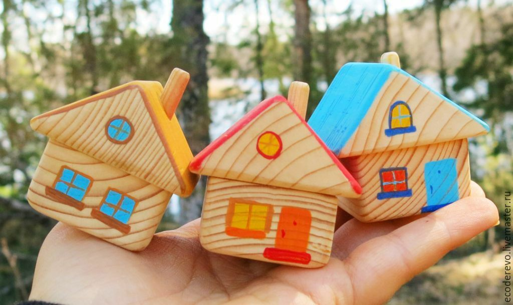 Set of wooden houses 3pcs.  Sunny Village