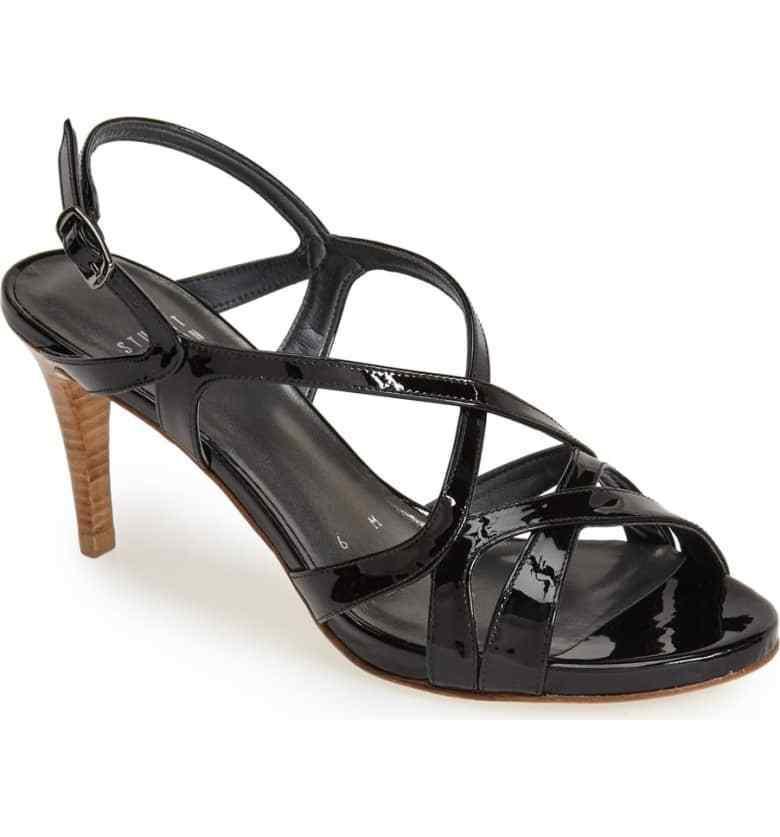 Stuart Weitzman SZ 8   M  Black Patent Leather Heels Sandals shoes Strappy NEW