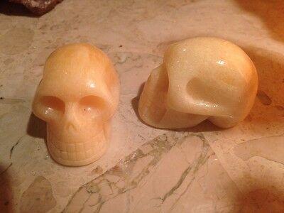 """Hand Carved Orange Calcite Crystal Gemstone Skull,  2"""", 95 gms, Reiki, Healing"""