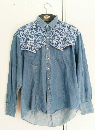 Vintage ROCKMOUNT RANCHWEAR light blue denim paisl