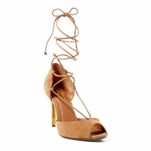 Ralph Lauren Linden Camel Marronee Kidsuede Lace Up Peep  Toe Slim Heel Sandal 9 B  basta comprarlo