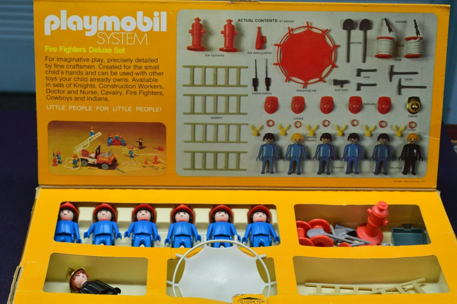 Vintage rare lot jeu PLAYMOBIL System 1977 Fire Fighters Deluxe Set  070 avec boite