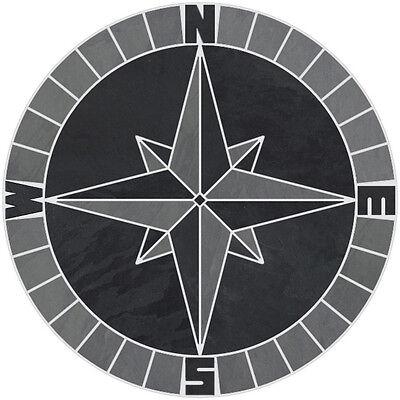 "20/"" Tile Mosaic Medallion Mariners Compass Gray Black Slate Backsplash Flooring"