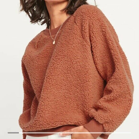 Old Navy Loose Cozy Sherpa Sweatshirt Lucky Penny Brown Rust Size XXL NEW