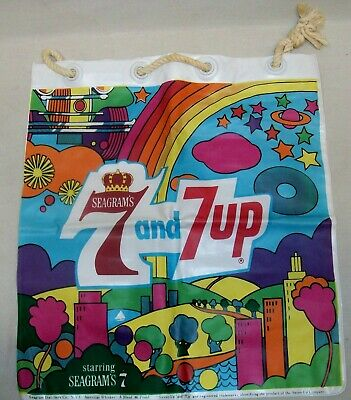 Vintage 1960s 7-Up 7Up Seagrams 7 Vinyl Blow Up Pillow Psychedelic Peter Max