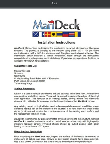 MariDeck HD Vinyl Flooring Granite Boat Marine Outdoor 80 mil 8.5 Wide