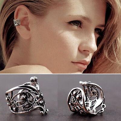 Flower Ear Cuff Wrap Wrap Ear Clip Cartilage Earring No Piercing Silver Hollow