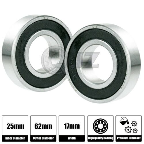 2x 6305-2RS Ball Bearing 25mm x 62mm x 17mm Rubber Sealed Stainless Steel New