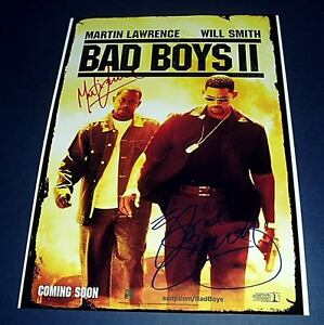 BAD-BOYS-II-CAST-x2-PP-SIGNED-POSTER-12X8-WILL-SMITH