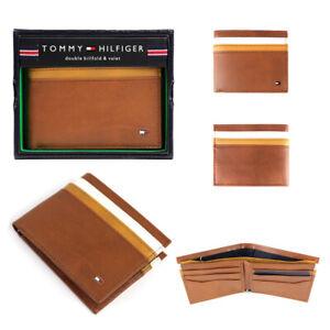 Tommy-Hilfiger-Men-039-s-Leather-Double-Billfold-Passcase-Wallet-amp-Valet-Honey-Tan