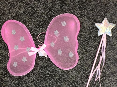 6 x GLITTERY FAIRY WINGS with WAND pink or lilac dress up butterfly wings PARTY