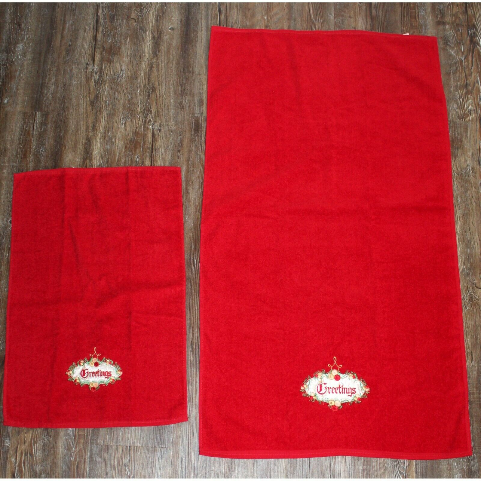 NEW Vtg Embroidered Greeting hand bath Towels by Cannon Christmas Decor Xmas USA