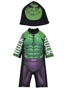 9e8ebb19c7 Image is loading Boys-Marvel-Swimsuit-with-Hat-UV40-Sunsafe-Protection-