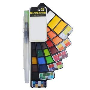 New-Foldable-Watercolor-Paint-Set-with-Brush-for-Field-Sketch-Outdoor-42-Colors
