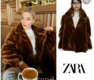 ZARA-SOLD-OUT-FAUX-FUR-BROWN-COAT-JACKET-SIZE-XS-1255-210