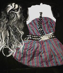 girls-medium-8-10-MONSTER-HIGH-HALLOWEEN-COSTUME-DRESS-LONG-WIG-black-white-CUTE