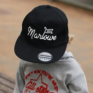 Image is loading Personalised-Kids-Snap-Back-Cap-Sun-hat 3307ebf3a54