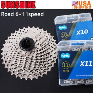 SUNSHINE-KMC-6-7-8-9-10-11Speed-116-118Links-Chain-Road-Bike-Cassette-11-25-36T