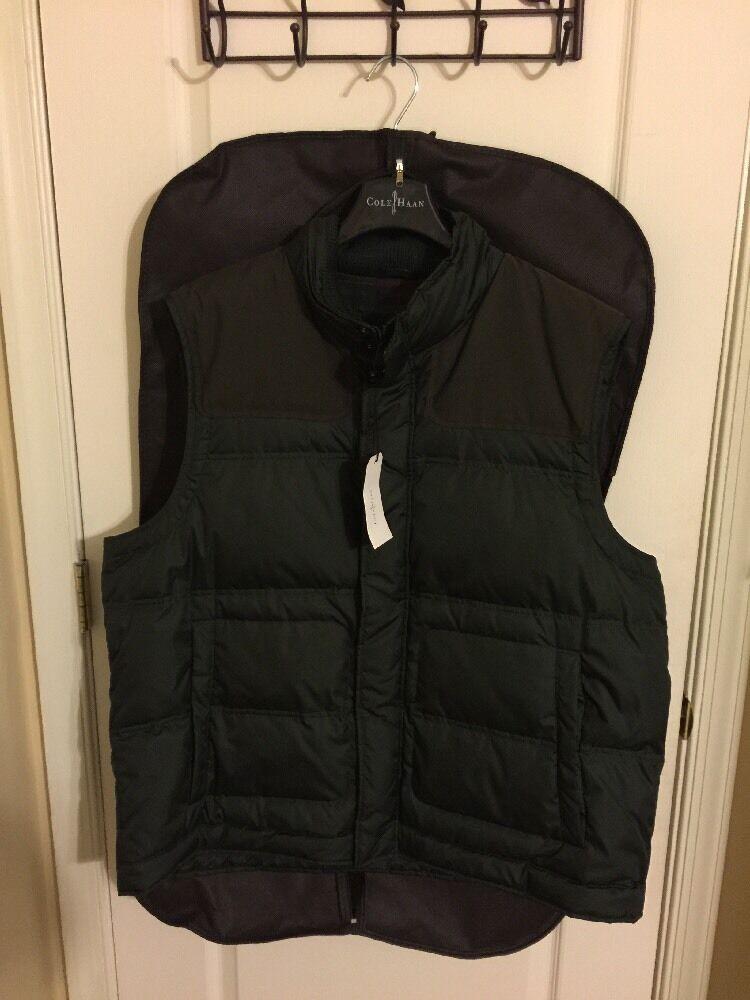 Herren Cole Haan Vest Größe  XXL Grün/braun TRIM NEW W/TAGS AND Garment Bag