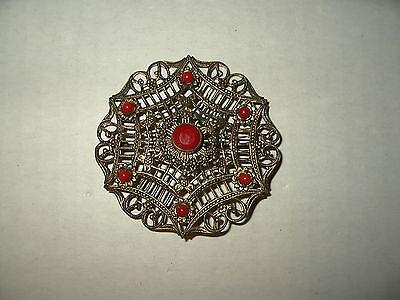 Vintage Victorian Antique Goldtone Filigree & Red Stones Brooch Pin - C Clasp