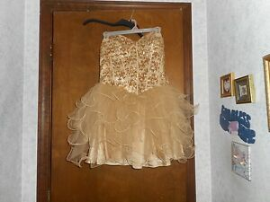 bc3105bf Image is loading MASQUERADE-GOLD-STRAPLESS-SHORT-DRESS-WITH-SEQUINS-AND-