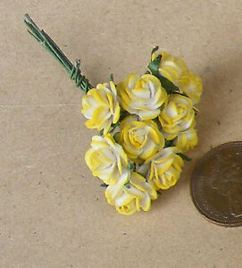 1-12-Scale-Single-Bunch-10-Flowers-Of-Yellow-Paper-Roses-Tumdee-Dolls-House-C