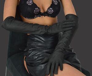 88446ce0ae8b78 Das Bild wird geladen Gr-M-Damen-Lange -Handschuhe-Anilinleder-Lederhandschuhe-Long-