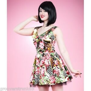 H-amp-R-London-Wild-Pink-Floral-Mini-Dress-Rockabilly-Pinup-Vintage-Hearts-amp-Roses