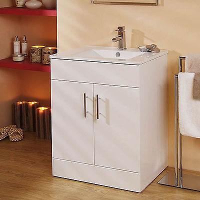 Bathroom Vanity Cabinet ; Floor Standing 600mm Double Door ; Ceramic Sink Basin