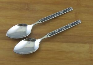 2-TWO-Gorham-Hacienda-Oval-Soup-Place-Spoons-7-1-8-034-Black-Accent-VGC-Stainless