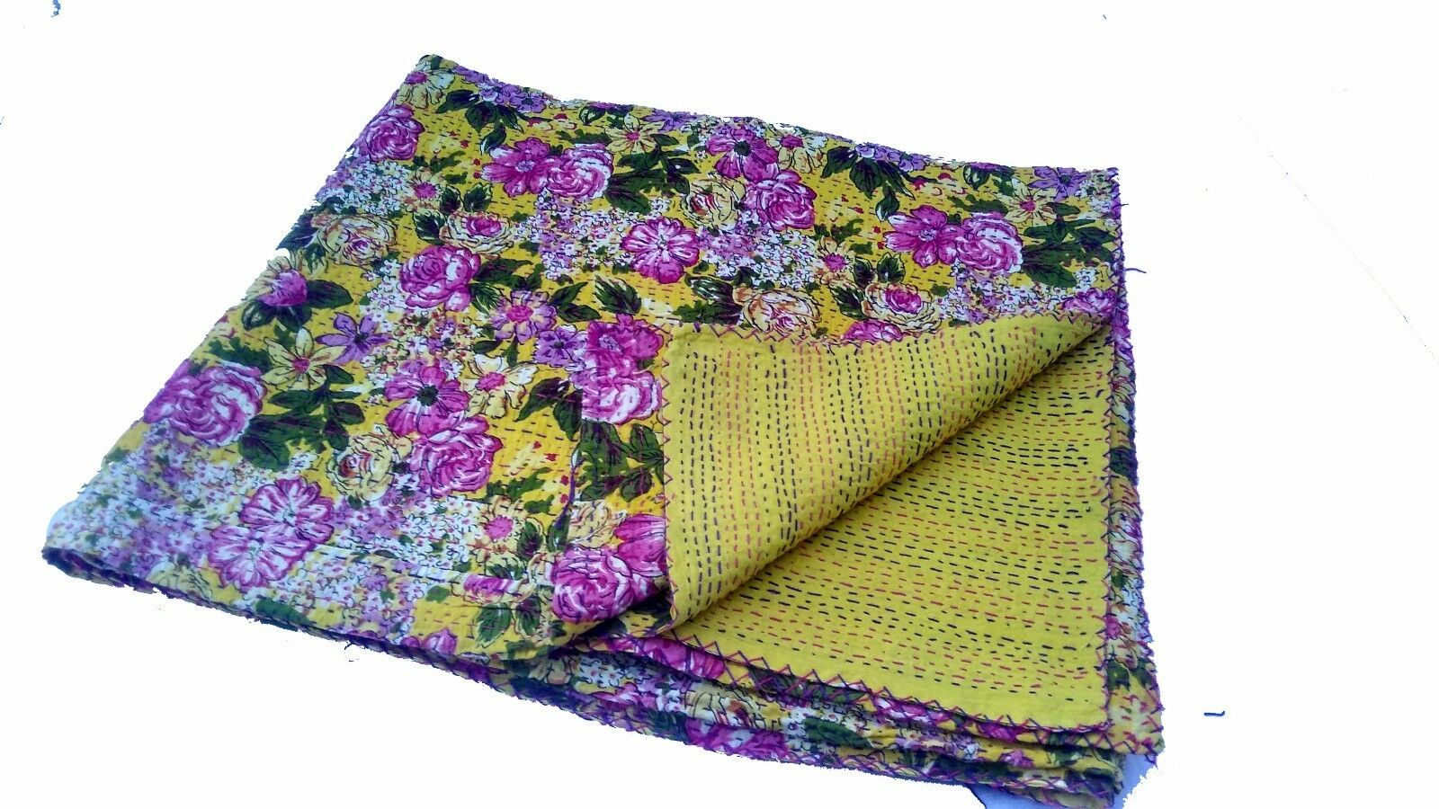 Flower print Reversible Kantha Quilt Bedspread King & Queen size Throw,Coverlet