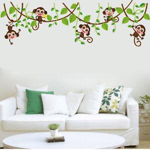 Jungle Monkeys Tree Wall Sticker Kids Baby Room Nursery Animal Mural Decor Decal