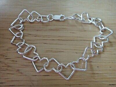 "8/"" Sterling Silver Heart Shaped flat Link 10x8mm Charm Bracelet Lobster Clasp"