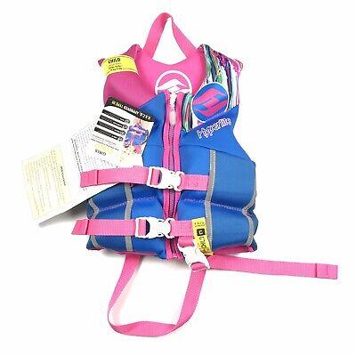 New $60 Hyperlite Neo Girls Child Sized Life Vest Blue Pink Childrens Jacket
