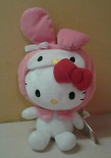 "Sanrio Hello Kitty Plush with Bunny hat costume 8"" pink white NWT"