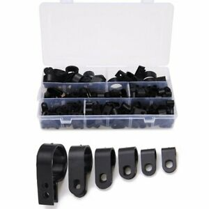 Cable-Clamp-200-Pcs-Black-Nylon-Screws-Plastic-R-Type-Cable-Clamp-Clips-Fastener