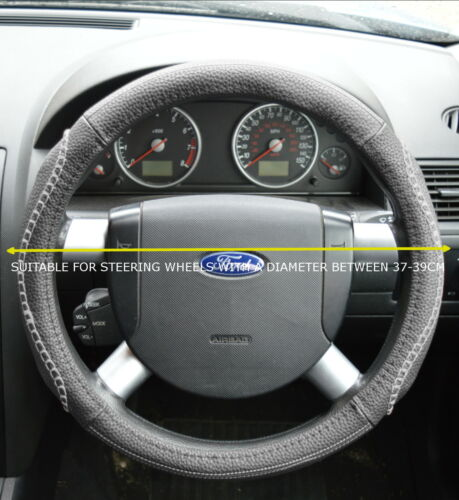 FORD FAUX LEATHER LOOK GREY STEERING WHEEL COVER