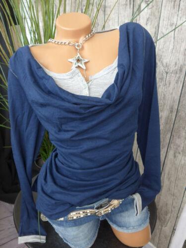 182 Heine Shirt Bluse Gr 36-46 Blau Marin 2 in 1 Effekt Wasserfallkrage NEU