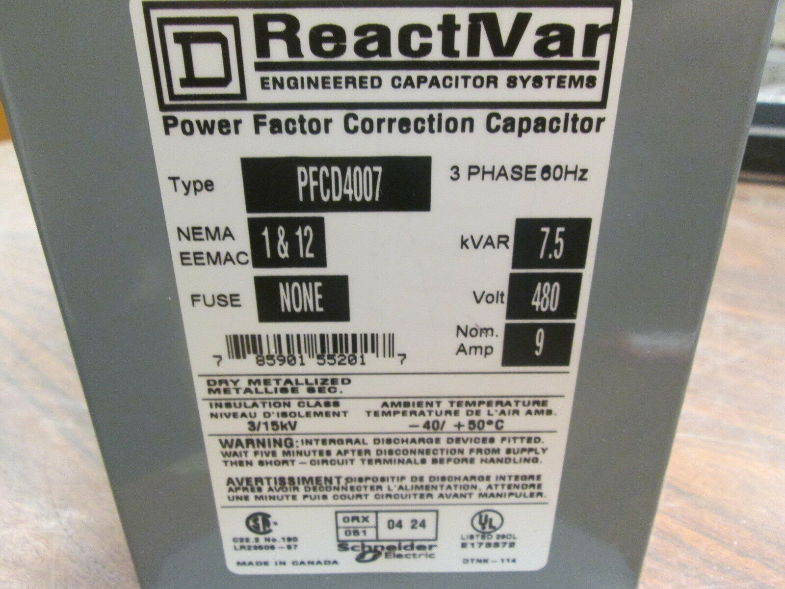 Square D Pfcd4007 Power Factor Correction Capacitor Ebay Capacitors