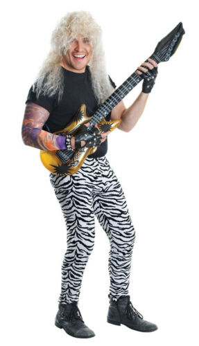 Mens Zebra Animal Print Trousers Rock Star Fancy Dress 80s Costume 70s Outfit