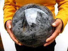 "42.38lb RARE HUGE NATURAL ""BLACK Tourmaline"" quartz crystal sphere ball healing"