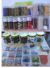 Lot of beads in tubes, boxes, jars - seed beads, squares, bugles and more!