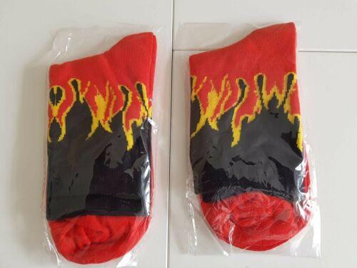 Fashion Unisex Flame Fire Cotton Hip-Hop Skateboard Socks Funny Hosiery 4 Colour