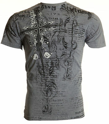 Archaic AFFLICTION Mens T-Shirt INTIMATION Cross Tattoo Biker MMA UFC M-4XL $40